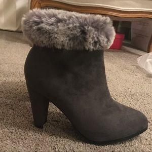 Catherine Malandrino- Faux fur cuff bootie - Grey